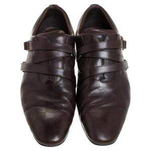 Louis Vuitton Brown Damier Infini Leather Velcro Loafers Size 43