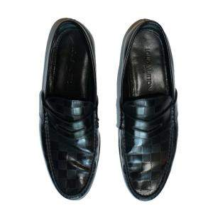 Louis Vuitton Black Damier Embossed Leather Loafers Size 43