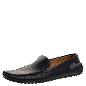 Louis Vuitton Black Leather Slip On Loafers Size 43