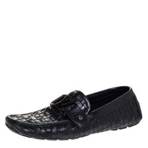 حذاء لوفرز لوى فيتون مونت كارلو جلد مغزول أسود مقاس 41
