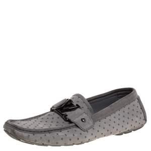 حذاء لوفرز لوى فيتون مونت كارلو جلد وسويدى قصة رمادى مقاس 40.5