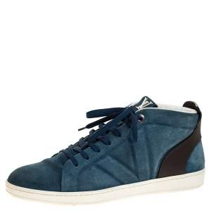 Louis Vuitton Blue Suede And Black Leather Abysse Sneakers Size 41.5