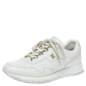 Louis Vuitton White Leather Run Away Low Top Sneakers Size 39.5