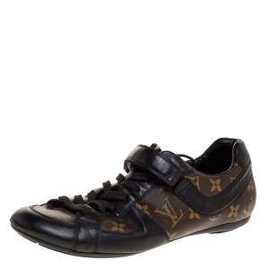 Louis Vuitton Brown/Black Leather And Monogram Canvas Globe Trotter Sneakers Size 40.5