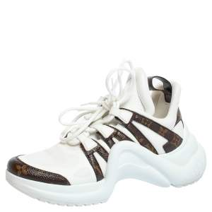 Louis Vuitton White Fabric And Monogram Canvas Archlight Lace Up Sneakers Size 39