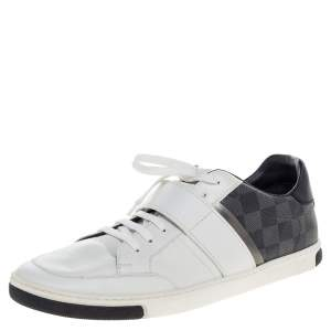 Louis Vuitton White Leather and Damier Graphite Canvas Low Top Sneakers Size 43
