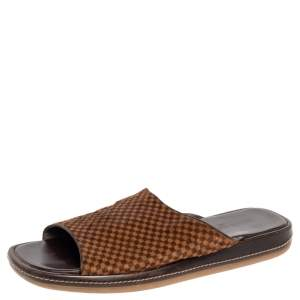 Louis Vuitton Brown/Beige Damier Pony Hair Slide Sandals Size 44