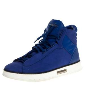 Louis Vuitton Blue Nubuck And Damier Leather Street Light High Top Sneakers Size 41