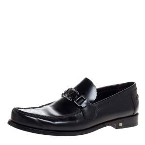 Louis Vuitton Black Leather Major Slip On Loafers Size 41.5