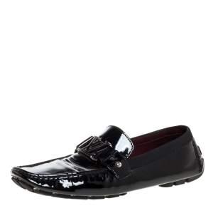 حذاء لوفرز لوي فيتون مونت كارلو جلد أسود لامع مقاس 46