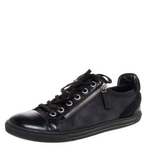 Louis Vuitton Black Damier Print Nylon, Suede And Leather 'Aventure' Zip Lace Up Sneaker Size 41