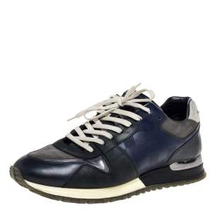 Louis Vuitton Blue/Black Nubuck and Leather Run Away Lace Up Sneakers Size 41