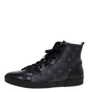 Louis Vuitton Black Leather and Monogram Eclipse Canvas Match Up High Top Sneakers Size 43.5