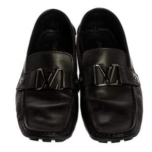 Louis Vuitton Black Leather Monte Carlo Loafers Size 43.5