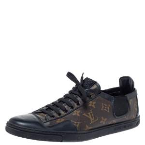 Louis Vuitton Brown Monogram Canvas And Black Leather Slalom Low Top Sneakers Size 43.5