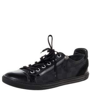 Louis Vuitton Black Damier Print Nylon, Suede And Leather 'Aventure' Zip Lace Up Sneaker Size 41.5