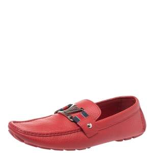 Louis Vuitton Red Leather Monte Carlo Moccasins Size 43