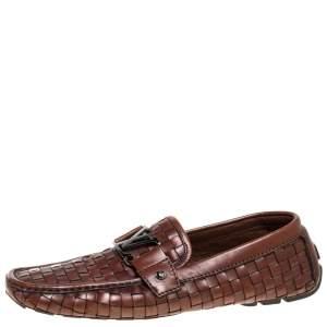 حذاء لوفرز لوي فيتون مونت كارلو جلد بني مغزول مقاس 43