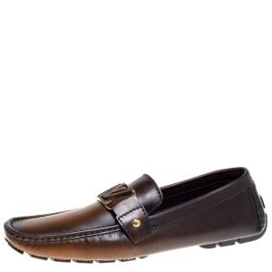 Louis Vuitton Brown/Black Ombre Leather Monte Carlo Slip On Loafers Size 43.5