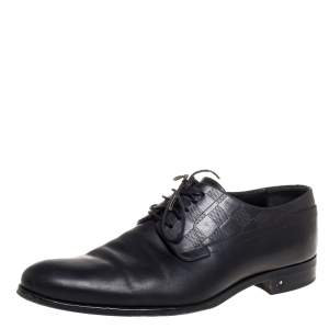 Louis Vuitton Black Leather Damier Embossed Lace Up Derby Oxford Shoes Size 42