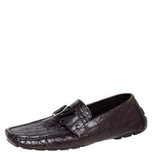 Louis Vuitton Brown Crocodile Monte Carlo Loafers Size 41.5