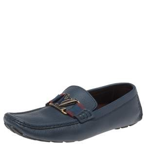 Louis Vuitton Blue Leather Ribbon Monte Carlo Loafers Size 42