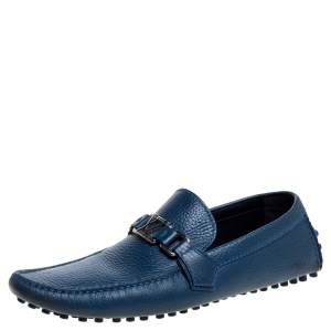 Louis Vuitton Blue Leather Hockenheim Loafers Size 42