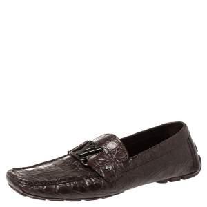 حذاء لوفرز لوي فيتون مونت كارلو جلد التمساح أحمر مقاس 42.5