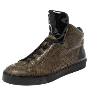 Louis Vuitton Dark Olive Python and Patent Leather High Top Sneakers Size 42.5