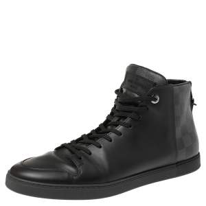 Louis Vuitton Black Leather and Damier Graphite Canvas Line Up High Top Sneakers Size 42.5