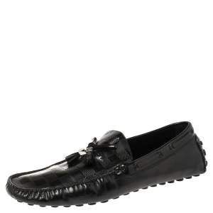 Louis Vuitton Black Damier Leather Imola Tassel Loafers Size 43