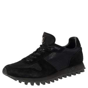 Louis Vuitton Black Mesh and Suede Runner Sneakers Size 43.5