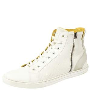 Louis Vuitton White/Grey Python/Leather and Suede Trim Zip Up High Top Sneakers Size 42.5