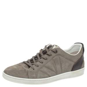 Louis Vuitton Grey/Brown Suede And Leather Low Top Sneakers Size 41.5