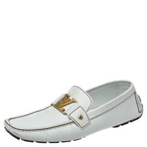 Louis Vuitton White Leather Monte Carlo Loafers Size 44