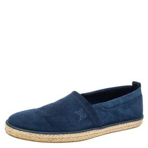 Louis Vuitton Blue Perforated Suede Espadrille Flats Size 43.5