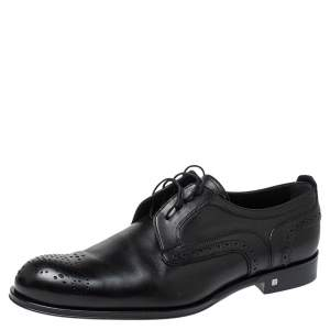 Louis Vuitton Black Brogue Leather Trading Lace Up Derby Size 42.5