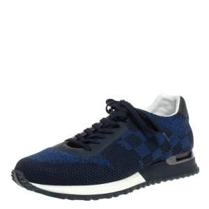 حذاء رياضي لوي فيتون أربطة ران أواي جلد وشبك دامييه أسود/ أزرق مقاس 40.5