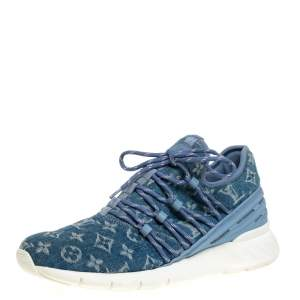 Louis Vuitton Blue Denim Monogram Fastlane Sneakers Size 40.5