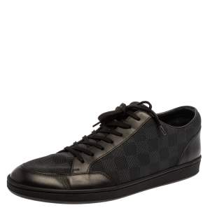 Louis Vuitton Black Damier Fabric and Leather Offshore Sneakers Size 43