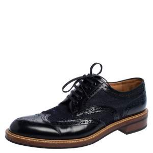 Louis Vuitton Blue Brogue Leather & Denim Lace Up Derby Size 44