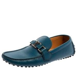 Louis Vuitton Blue/Black Leather Major Loafers Size 40.5