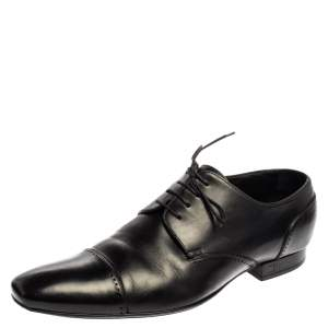 Louis Vuitton Black Leather Cap Toe Lace Up Derby Size 42.5