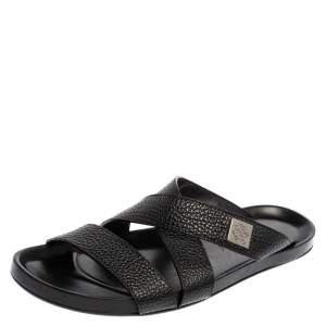 Louis Vuitton Black Leather Pioneer Cross Strap Flat Slide Sandals Size 43