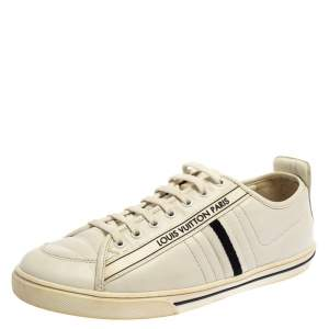 Louis Vuitton White Leather Logo Low Top Sneakers Size 41