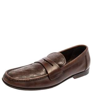 Louis Vuitton Brown Damier Embossed Leather Sorbonne Slip On Loafers Size 42