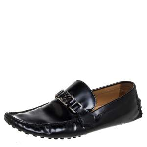 Louis Vuitton Black Leather Hockenheim Loafers Size 42