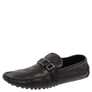 Louis Vuitton Black Damier Embossed Leather Hockenheim Slip On Loafers Size 42