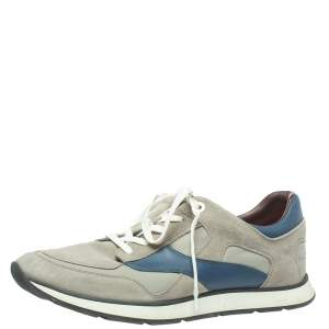 Louis Vuitton Grey Suede And Leather Miles Lace Up Sneakers Size 44.5