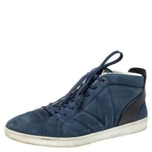 حذاء رياضى لوى فيتون مرتفع من أعلى فيوسلاج جلد وسويدى أسود / أزرق مقاس 44.5